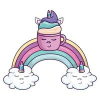 söt kopp enhörning med regnbåge och moln kawaii stilikon vektor