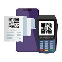 qr kod papper datafon och smartphone vektor design