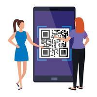 affärskvinnor och smarttelefonenhet med skanningskod qr vektor