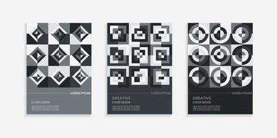 retro geometrisk omslagsdesign i grå lutning vektor