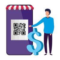 affärsman och smartphone-enhet med skanningskod qr