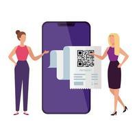 affärspar med smartphone och kod qr