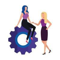 Geschäftsfrauen mit Zahnrad isolierte Ikone vektor