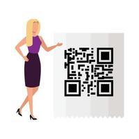 affärskvinna med kod qr isolerad ikon