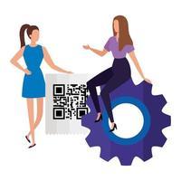 Geschäftsfrauen mit Code qr und Ausrüstung vektor