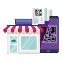 QR-Code-Papierladen und Smartphone-Vektor-Design