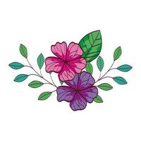 süße Blumen mit Zweigen und Blättern