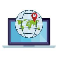 isolerat GPS-märke och global sfär framför bärbar datordesign