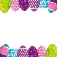 Rahmen der niedlichen Eier Ostern verziert vektor