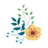 süße Blume mit Zweigen und Blättern vektor