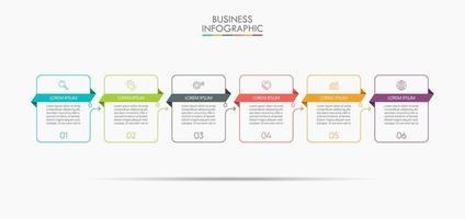 Infografik Thin Line Design Vorlage mit 6 Optionen vektor