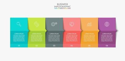 modern 6-stegs infographics presentation