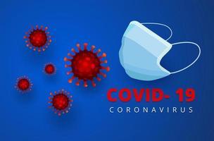 medicinsk mask, covid-19, skydd mot sjukdomsvektordesign. vektor