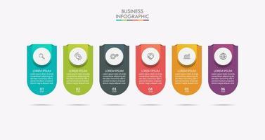 Timeline-Infografiken mit Schrittsymbolen vektor