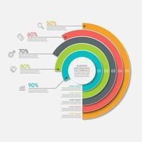 Kreis Grafik Infografik tmplate mit 5 Optionen. vektor