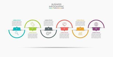 infographic tunn linje designmall med 6 alternativ