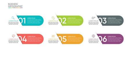 moderne Infografik-Vorlage mit 6 Optionen vektor