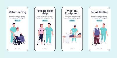 Pflege und Rehabilitation behinderter Menschen Onboarding Mobile App Bildschirm flache Vektor-Vorlage