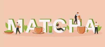 matcha word begrepp platt färg vektor banner