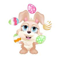 niedliche Hase Jonglieren Eier kawaii Cartoon Vektor Charakter