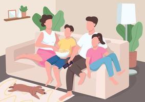 Familienuhr TV flache Farbvektorillustration vektor