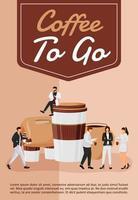 kaffe att gå affisch platt vektor mall