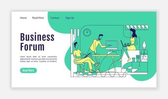 Business Forum Landing Page flache Silhouette Vektor Vorlage