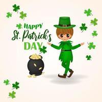 glücklich st. Patricks Tagesgruß mit Junge, Kessel mit Münzen und Klee vektor