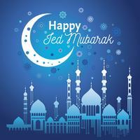 Eid Mubarak, Vektorillustration med glänsande måne och hängande lampor i anledning av muslimsk festival Eid Mubarak