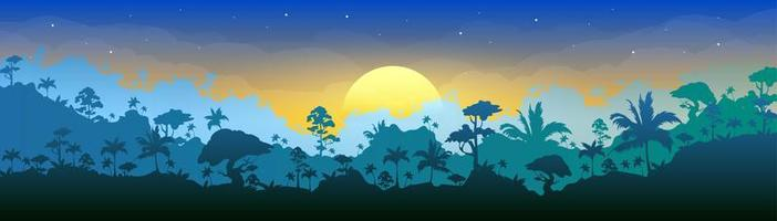flache Farbvektorillustration des Dschungels vektor