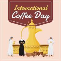 Internationaler Kaffeetag Social Media Post Mockup vektor