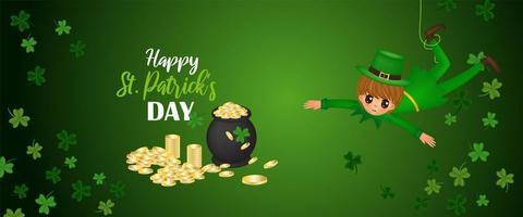 glücklich st. Patrick's Day Vektor-Illustration mit hängendem Jungen und Kessel mit Münzen vektor