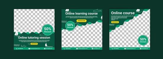 Online-Kurse und Kurse. Social-Media-Post-Vorlagen für digitales Marketing und Werbung. Anzeigen für Webinare. lerne auch zu Hause weiter. vektor