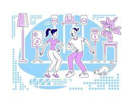 Tanzen zu Hause flache Silhouette Vektor-Illustration vektor