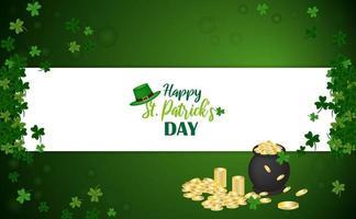 glad st. patrick's day design med kittel med mynt, klöver och hatt