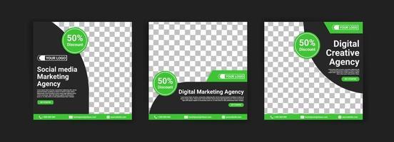 Social Media Marketing Agentur. Agentur für digitales Marketing. digitale Kreativagentur. Social Media Post Banner Vorlage für Ihr Unternehmen. vektor