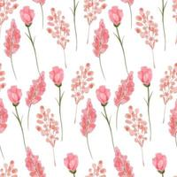 nahtloses botanisches Blumenmuster des Aquarellrosas vektor