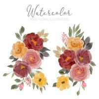 akvarell ros blomma arrangemang illustration set vektor