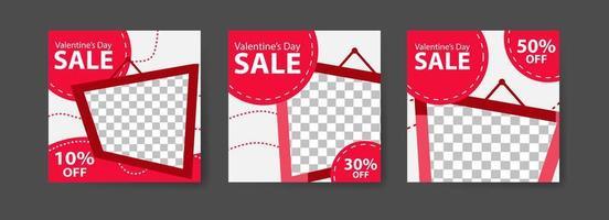 Social-Media-Post-Vorlagen für digitales Marketing und Verkaufsförderung am Valentinstag. Modewerbung. bieten Social-Media-Banner. Vektor Fotorahmen Modell Illustration