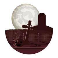mörk kyrkogård med pumpa natt scen ikon vektor