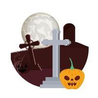 Halloween-Kürbis mit dunklem Gesicht in der Friedhofsszene vektor