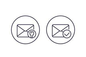 krypterat meddelande eller e-post, ikoner för vektorlinjer