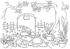 Magical Garden Gate Line Art Illustration