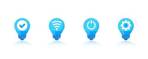 Smart LED-Licht Symbole gesetzt vektor