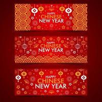 glad kinesiskt nyår webb banner samling vektor