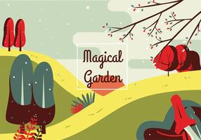 Magisk trädgård vektor design