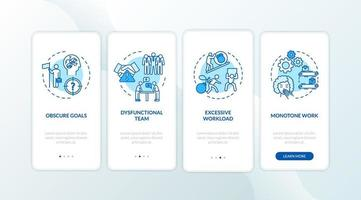 Burnout Onboarding Mobile App Seitenbildschirm mit Konzepten. Streit mit Mitarbeitern. Arbeitsstress-Komplettlösung 4 Schritte grafische Anleitung. UI-Vektor-Vorlage mit RGB-Farbabbildungen