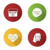 välgörenhet platt design långa skugga glyph ikoner set