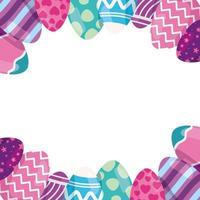 Rahmen von Eiern Ostern verziert vektor