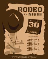 Rodeo-Hut-Flyer-Plakat-Vorlage vektor